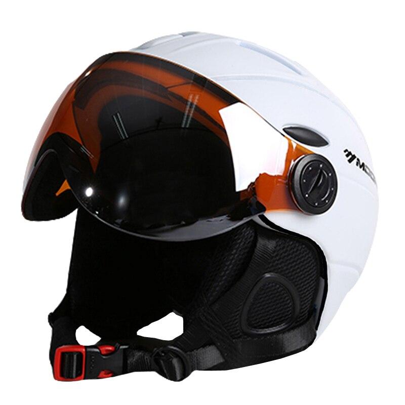 Лунные очки для лыжников шлем интегрально Формованный PC + EPS CE сертификат лыжный шлем для занятий спортом на открытом воздухе лыжный шлем для сноубордистов скейтбордистов - 2