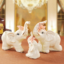ceramic creative heart elephant family home decor crafts room decoration ornament porcelain animal figurines wedding