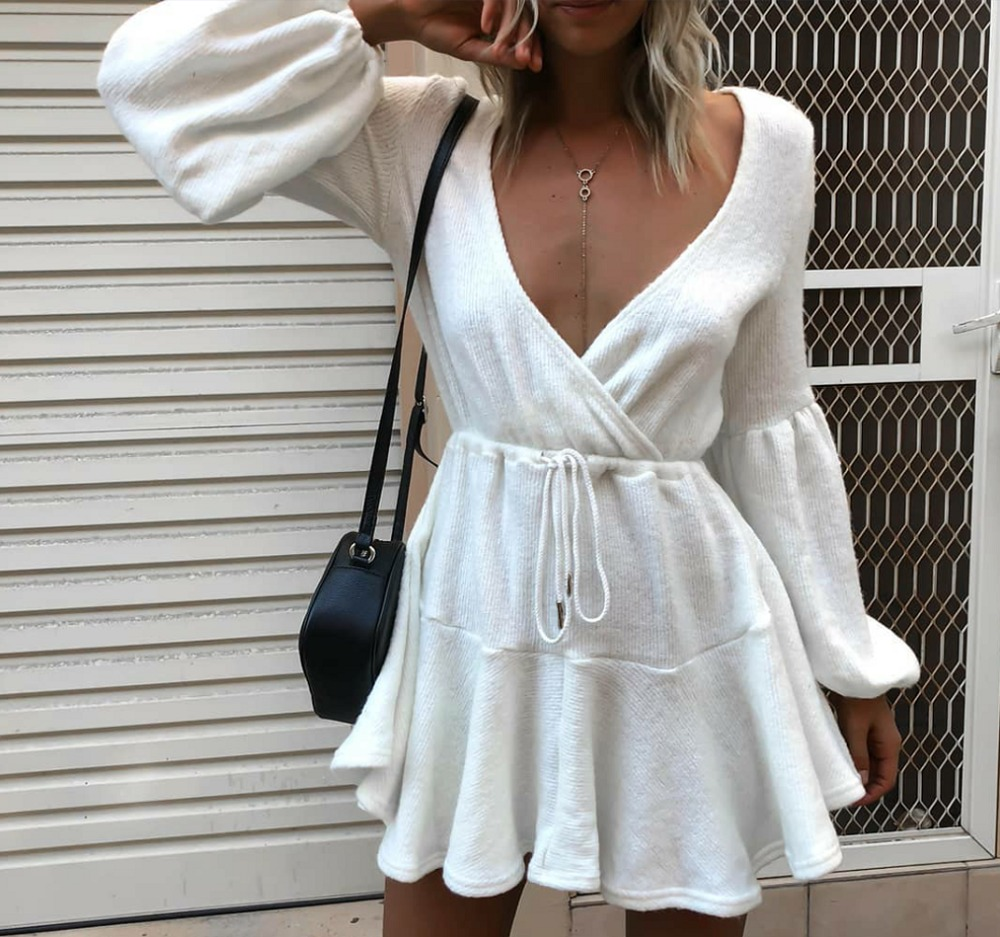 Slim Women Clothes Elegant Streetwear Sexy Club Short Dresses V-Neck Long  Sleeve High Waist b05779d61