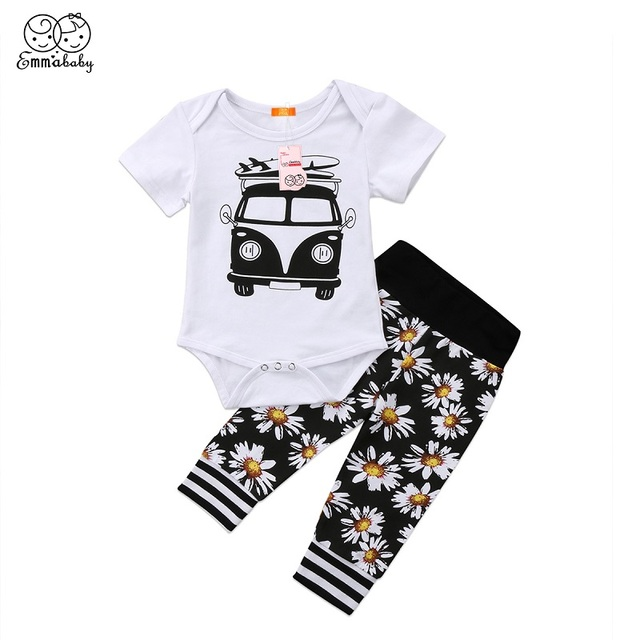 Emmababy Summer Kids Cotton Clothes Set 2pcs Toddler Baby Boy Car