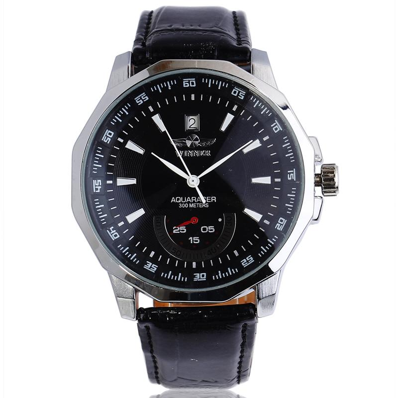 New Fashion Top Brand WINNER Watch Men Male Clock Leather Strap Auto Date Mechanical Automatic Black Business Wrist Watches orkina luxury brand automatic mechanical men s watch black brown leather strap wrist watch gifts auto date week month display