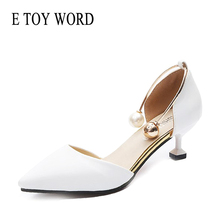 Buy E TOY WORD Women Shoes Spring white Heels 5cm wedding shoes Elegant Pearl buckle pumps Sexy Black Pointed Toe Heeled Shoes 2019 directly from merchant!