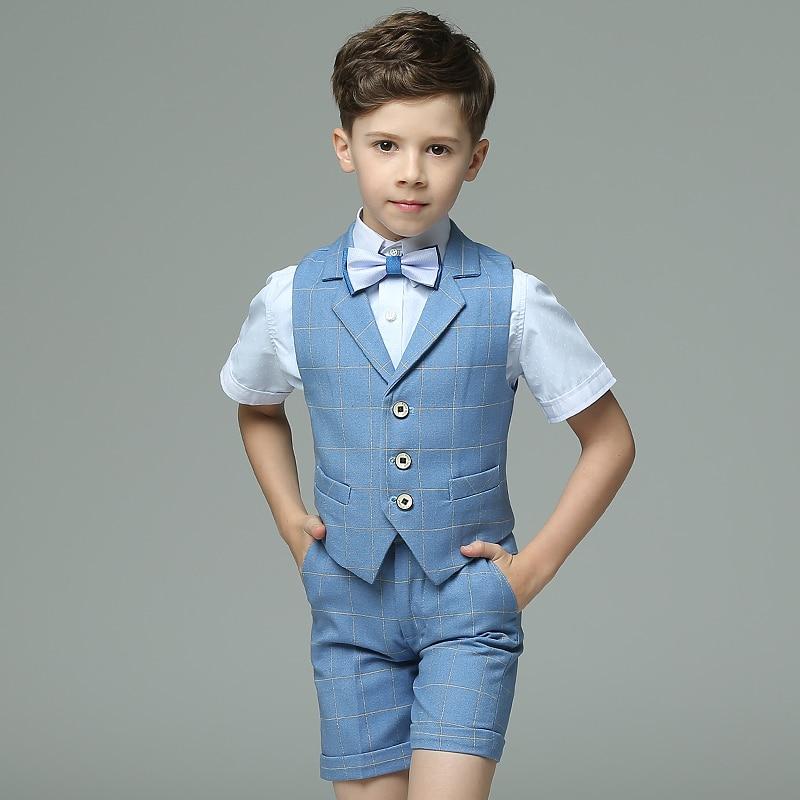 4pcs/set Blue Plaid Short Sleeve Summer High Quality Birthday/Performance/Wedding Groom for Handsome Boys' Formal Blazers Suits