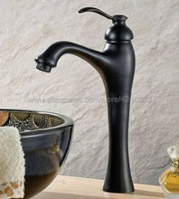 Oil Rubbed Bronze Bathroom Basin Faucet Single Hole / Handle Black Brass Hot and Cold Mixer Tap Knf339 retail luxury brass oil rubbed basin faucet hot