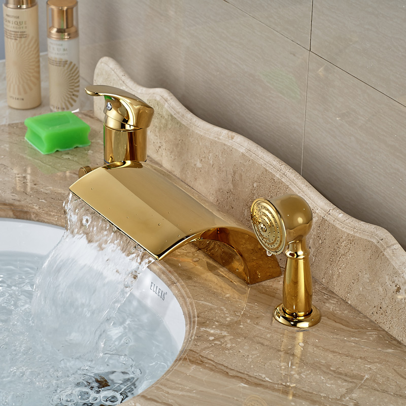 Modern Golden 3pcs Widespread Bathroom Waterfall Tub Filler Faucet Hand Shower Set Mixer Taps