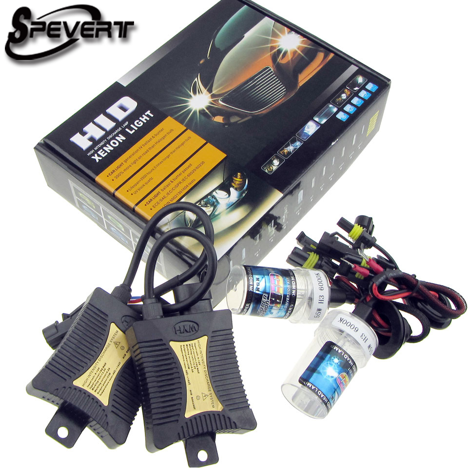 SPEVERT 55W HID Conversion Kit H7 Single Beam Xenon 6000K Motorcycle Headlight Slim Ballast XENON HID KIT Bulbs SLIM Ballast 12V 55w hid xenon kit black slim ballast conversion bulbs d2s 6000k headlight new [cpa189]