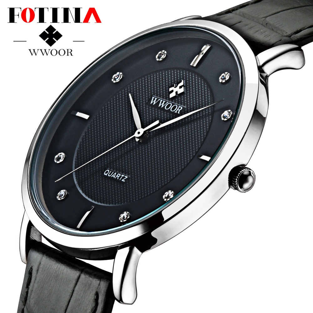 FOTINA Top Brand Men Watches Ultra Thin Genuine Leather Clock Male 50m Waterproof Casual Bussiness Watch