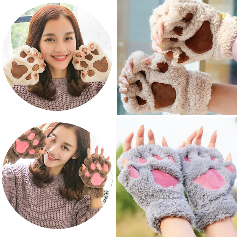 Fashion Women Girl Winter Warm Plush Mittens Half Finger Short Fingerless Gloves