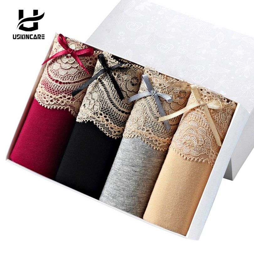 Uskincare Panties 4 Pieces/lot Lace Women Cotton Brief Underwear Mid-waist ..