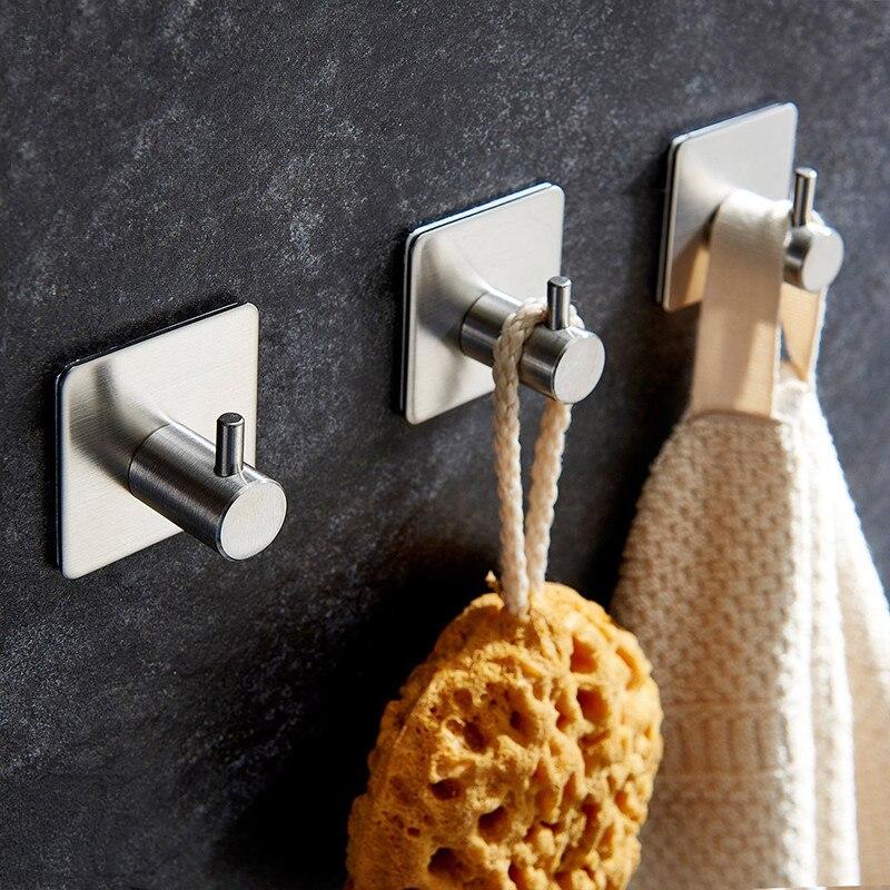 Bathroom Storage Sticker Adhesive Stainless Steel Hooks Wall Door Clothe Coat Hat Hanger Kitchen Bathroom Rustproof Towel Hooks