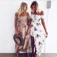 Boho estilo vestido longo das mulheres fora do ombro praia vestidos de verão floral impressão do vintage chiffon branco maxi vestido de festa