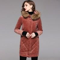 2017 Winter New Fur Hooded Diamond Plaid Velvet Long Parkas Women Thick Warm Cotton Padded Jacket