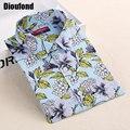 Dioufond verano blusa floral algodón de lino blusa vintage blusas de manga larga camisas de las mujeres de nueva moda 2016 mujeres de la manera tops