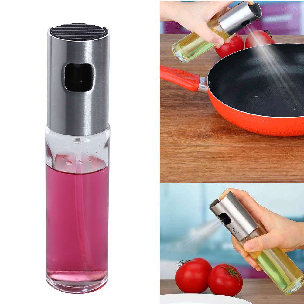 100ML Stainless Steel Glass Oil Pump Spray Fine Bottle Olive Can Vinegar Spraying Bottle BBQ Kitchen Cooking Gadgets