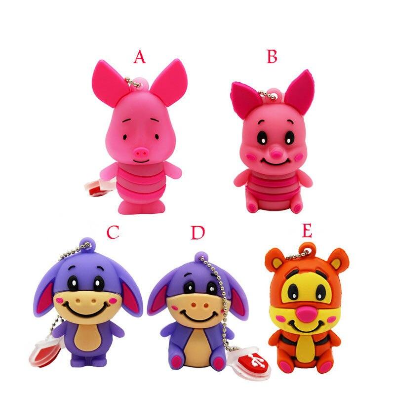 BiNFUL Cute Cartoon Animal Tiger/donkey/pig Pendrive 4GB 8GB 16GB 32GB  Stick USB Flash Drive