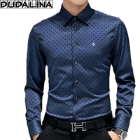 DUDALINA 2017 Polka Dot 100 Cottot Shirt Men Long Sleeve Shirt Men Clothes Slim Fit Casual