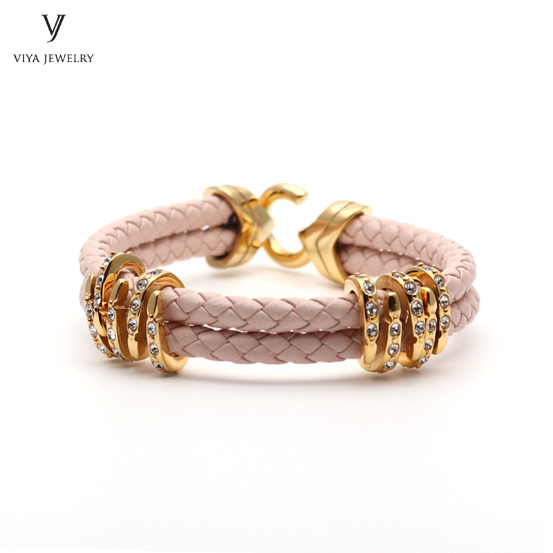 Charming Pink Leather Bracelet For Girl High Quality Cow Braided Cords Leather With Stainless Steel Clasp Women Bracelet Has Box charming woven floral rivet bracelet for women