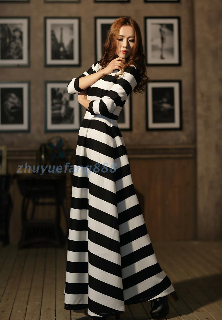 Aliexpress.com   Buy Customize plus Size 3XS 10XL Spring Summer Casual  chiffon Dress Ladies Black White Strips Maxi three quarter sleeves dresses  from ... e6879bb76846