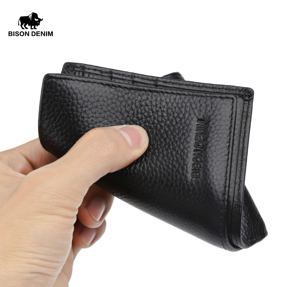 BISON DENIM Genuine Cowskin Wallet Male Credit Card Wallet Slim Famous Brand Wallet for Men Photo Cash Short Male Purses N4466-3 2016 special wholesale male wallet wander settling anywhere a stall with spread out on ground short fund wallet ultrathin will