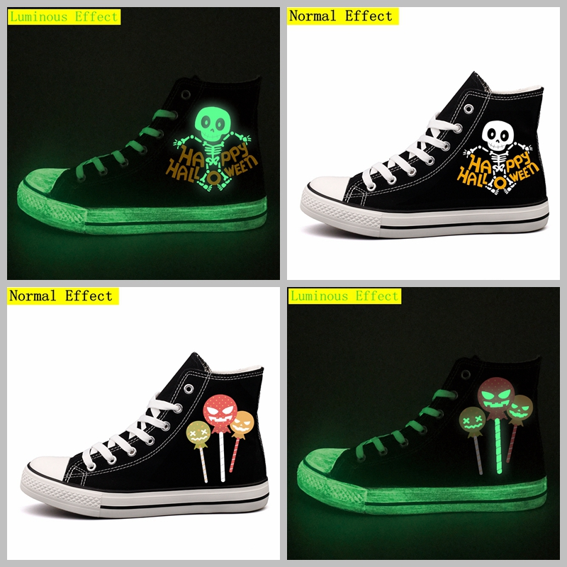 Unique Halloween Monster Custom Printed Canvas Shoes Lace-up Luminous Women Ladies Flats Walking Shoes Glow In Night Espadrilles monster printed halloween decor head mask page 8