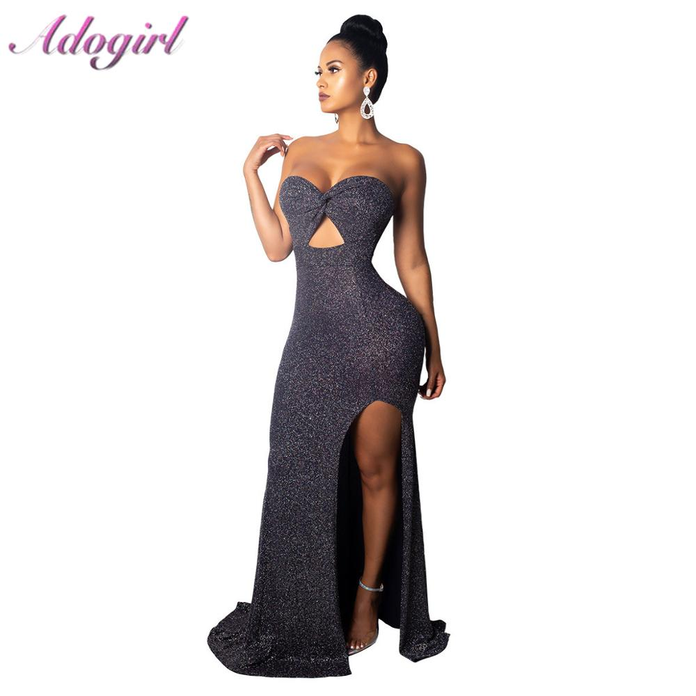 Elegant Strapless Bodycon Long Dress Women Summer Sexy Off Shoulder High Split Evening Party Dresses Casual Floor-Length Vstidos