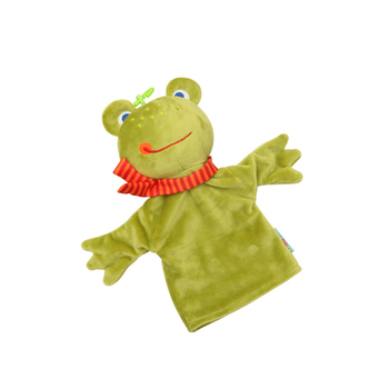 Hand Puppet Frog Premium Baby Rattle Extra Soft Plush Teether Safe for Teething Develops & Improves Babys Hand-Eye Coordination