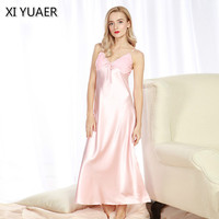 XI YUAER 2018 New Long Women Nightgowns Faux Silk Ladies Split Summer Long Sexy Lace Sleep Dressing Gowns Lounge Woman 60133