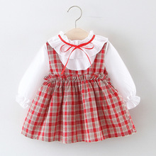 2019 Spring Girl long-sleeved Plaid Dress for birthday party  baby girl Princess