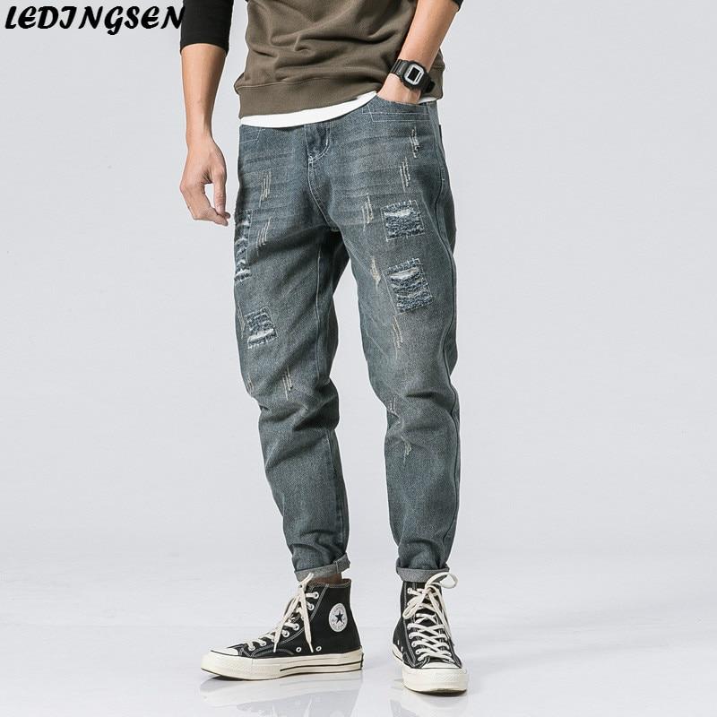 LEDINGSEN 2018 Spring Brand New Mens Baggy Ripped Blue Jeans Loose Distressed Hole Denim Pants Trousers Hip Hop Streetwear