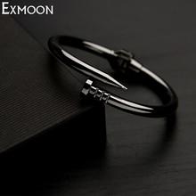 EX-MOON Women Titanium Stainless Steel Spring Nail Bracelets&Bangles Black Screw Cuff Bangle Love Bracelets Party Jewelry