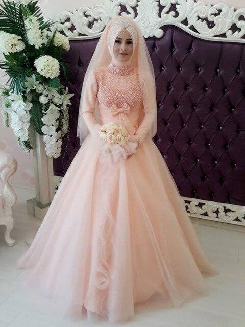 2016 Peach Berwarna Lengan Panjang Gaun Pengantin Muslim Dengan