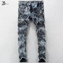 XMY3DWX Стильный мужчины осень качество узкие джинсы/моды для мужчин молния украшение Снежинки джинсы/полноценно хлопок карандаш брюки