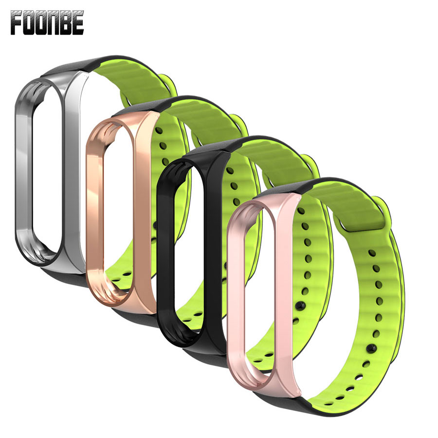 Foonbe For Mi Band 3 Strap Metal Stainless Steel+Silicone Strap For Xiaomi 3 Mi Band 3 Strap Bracelet Wristbands GoldBlack