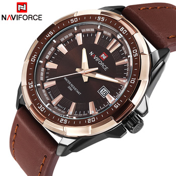 NAVIFORCE Men's Waterproof Calendar Date Military Leather Quartz Watches