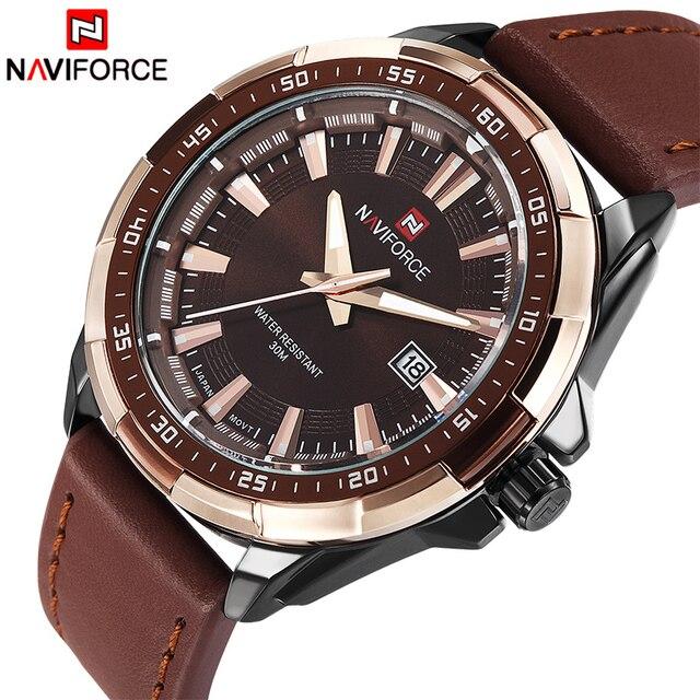 NAVIFORCE relojes deportivos para hombre, de cuarzo, resistente al agua, Cuero militar del ejército