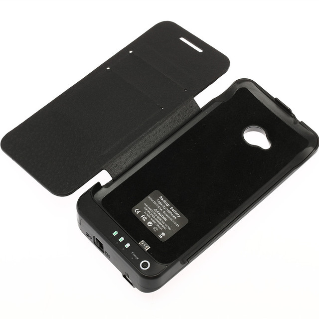 3800mAh Cubic Texture External Battery Charger Cover Leather Capa For HTC One M7 801e PowerBank Case With Stand Black & White