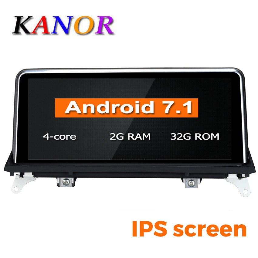 Lecteur multimédia d'autoradio KANOR 10.25 pouces 2G + 32G Android 7.1 2 + 32g pour BMW X5 E70 X6 E71 avec système CIC CCC 2007-2013