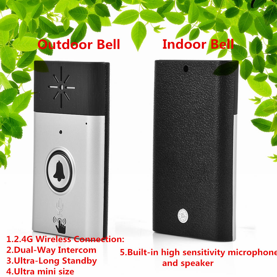 300M 2.4G Wireless Doorbell Portable Dual Way Voice Intercom Interphone System With High Sensitivity Microphone And Speaker 2pcs mini walkie talkie uhf interphone transceiver for kids use two way portable radio handled intercom free shipping