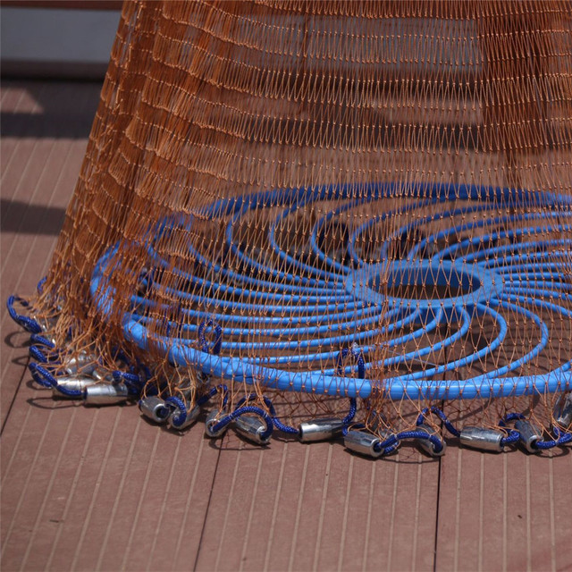 Fishing Throw Net Upgraded American Hand Cast Net with Flying Disc 300/360/420/480/540/600/720cm