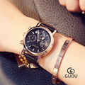 Fashion Brand GUOU Clock Ladies Dress Leather 3 Eyes Calendar Watches Elegant Bracelet Watch Women's Wristwatch Relojes Mujer