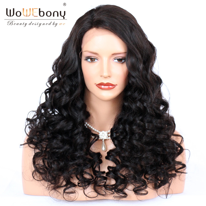 WoWEbony 250% High Density Bouncy Wavy Human Hair Lace Frontal Wigs For Black Women Pre-plucked Hairline