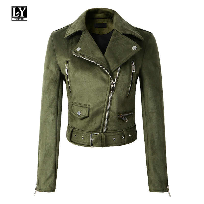 Ly Varey Lin Women   Suede     Leather   Jacket Slim Short Zipper Design Faux   Leather   Jacket Punk   Leather   Yellow Green Jacket Outwear