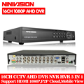 16 canali AHD DVR 1080 p 16CH AHD/CVI/TVI DVR 1920*1080 2MP CCTV Video Recorder hybrid DVR NVR HVR 5 In 1 Sistema di Sicurezza di Allarme