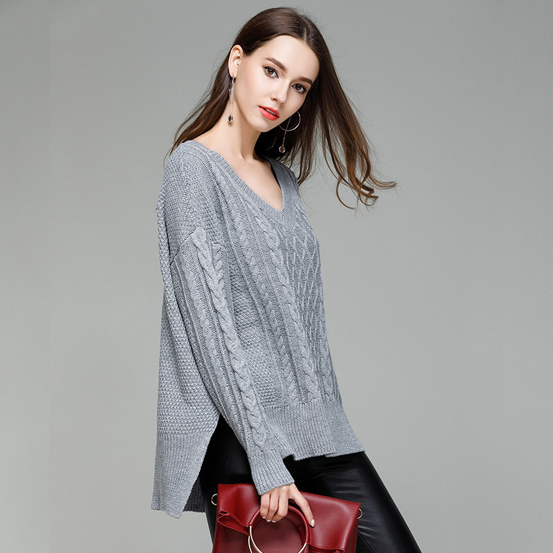 Fashion Oversized Sweater V Neck Full Sleeve Solid Casual Thick Autumn Winter Ladies Pullover Loose Woman Clothes Jumper Mujer in Pullovers from Women 39 s Clothing