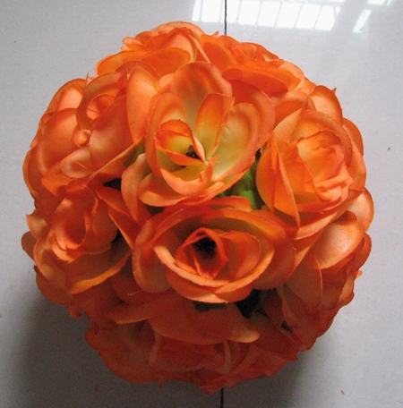 30cm wedding kissing flower ball orange with green leaves artificial flowers balls 10pcs/lot free shipping