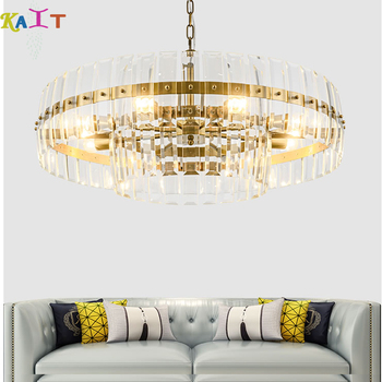 Modern chandeliers ceiling LED Golden ring Crystal Chandelier Lights Lamp For Living Room Cristal Lustre modern led chandelier lighting transparent glass bubble ball chandeliers for living room lustre de cristal lustre para sala lamp