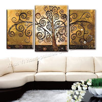 3 Piece Canvas Wall Art Hand Painted Canvas Abstract Oil Painting Tree Multi Panel Large