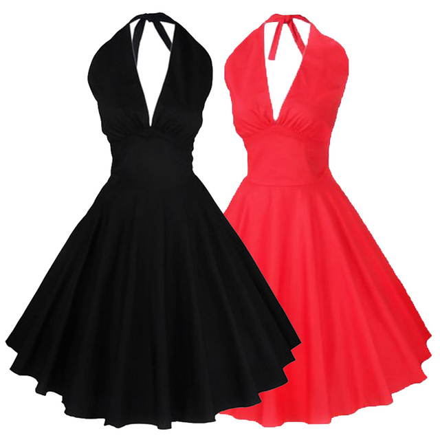 1950s Vintage Women Dress Plain Elegant Halter Black Sleeveless Red Skater  Dress Party Evening Vintage Retro Black Dress 167867efb6