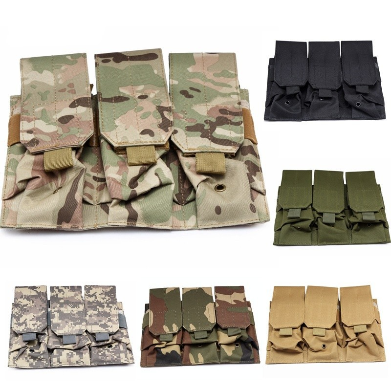 Hunting Airsoft Combat Molle Tactical Triple AR Series Safety Magazine Pouch Pistol Handgun Shooting Vest Tool Dump Drop Bag image