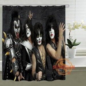 Gran oferta de cortina de ducha Kiss Band, diseño personalizado, crea tu propia tela de poliéster, ganchos impermeables, cortinas de baño, regalo